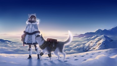 anime-girl-winter-wolf-snow-landscape-clean-sky